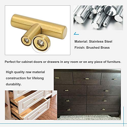 Goldenwarm 15Pack Single Hole Gold Cabinet Knobs and Pulls Door Cupboards Drawers Bedroom Furniture Handles 50mm//2in Overall Length Brushed Brass