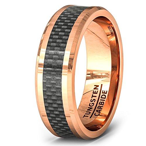 8mm Rose Gold Tungsten Ring Black Carbon Fiber Surface Beveled Edges Comfort Fit - Fibre Gold Carbon