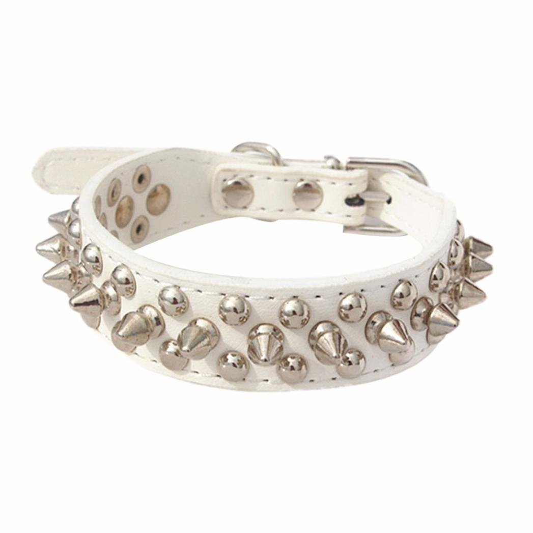 Howstar Pet Collars, Adjustable Rivet Spiked Studded Puppy Collar Cool Dog Neck Strap, Soft PU Leather, Multiple Color (XS, White)
