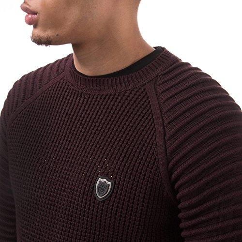 Sweater 883 Knit Neck Burgundy Textured Crew Don Police wwYP1