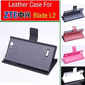 free shipping ZTE Blade L2 case cover wallet, Good Quality Leather Case + hard Back cover For ZTE Blade L2 cellphone In Stock --- Color:White