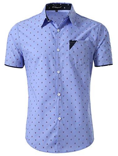 Anchor Apparel - Allegra K Men Point Collar Single Breasted Short Sleeve Anchor Prints Shirt Medium Blue