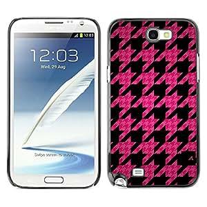 Caucho caso de Shell duro de la cubierta de accesorios de protección BY RAYDREAMMM - Samsung Galaxy Note 2 N7100 - Leaf Pink Pattern Quilted Fashion