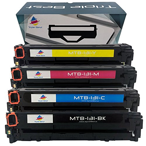 Triple Best Set of 4 Remanufactured 131 Black Cyan Magenta Yellow Laser Toner Cartridge for Replacement of Canon 6273B001A 6273B001A 6273B001A 6273B001A Toner Cartridge used with imageCLASS LBP-7110cw by MyTriplebest (MTB)