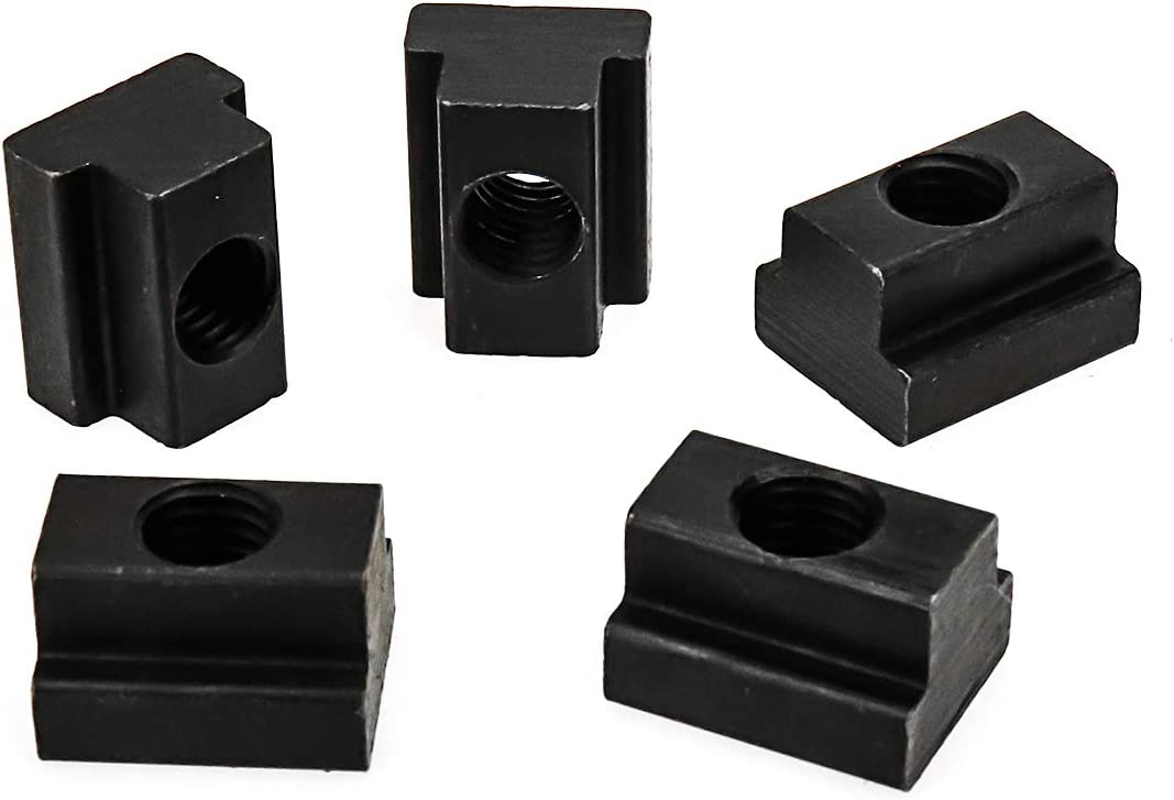 HONJIE M10 T-Slot Nut,Black Oxide Finish,Grade 8.8,3//8 Threads,Slot Width 12mm,Slot Depth 7mm,Total Depth 14mm,Pack of 5