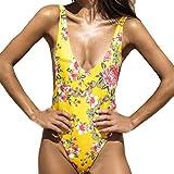 Ladies Swimsuits Yellow,Womens Floral Printing Padded Swimwear Bikini One Piece Swimsuit Bathing Suits (Yellow, Small)