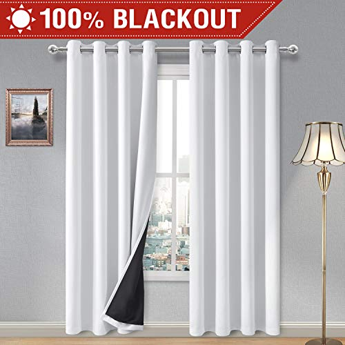 Blackout Lined Curtains - DWCN 100% White Blackout Curtains - Thermal Insulated, Energy Saving & Noise Reducing Bedroom and Living Room Lined Curtains, W 52 x L 84 Inch, Set of 2 Grommet Curtain Panels