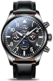 Pilot Men's Complications Analog Automatic Mechanical Watch Luminous Calendar Moon Phase 24-Hours Black (Leather Band Black)