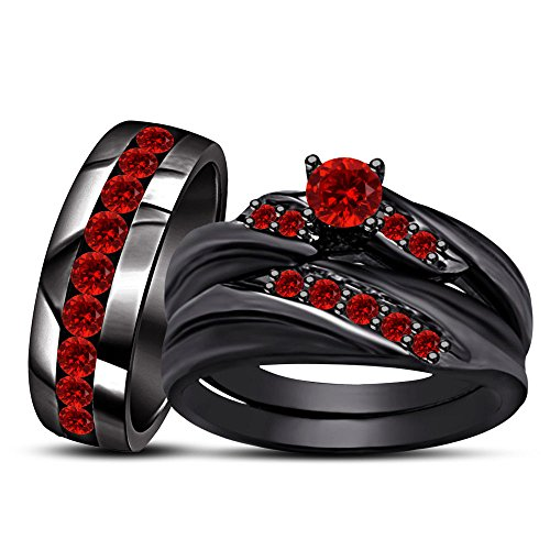 Silvercz Jewels 3.50 Ct Round Red Garnet 14k Black Gold Fn Men's & Women's Trio Wedding Ring Set -