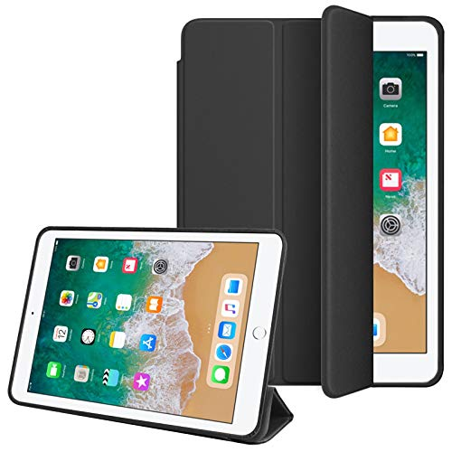 TecKraft Smart Cover PU Leather Flip Case for Apple iPad 9.7 inch 2017  Matte Black