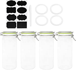 Glass Jars with Airtight Lids, Qianfenie 47 oz Wide Mouth Mason Jars with Hinged Lids for Kitchen - Glass Food Jars with Labels & Chalkboard Pen and Replacement Silicone Gaskets, Set of 4