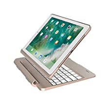 iPad Air Backlit Keyboard Case,JiiJian [Heavy Duty] Aluminum Alloy Detachable 7 Color Backlit iPad Keyboard Cover with Wireless Bluetooth Smart Flip Keyboard Case for 9.7 inch iPad Air-Gold