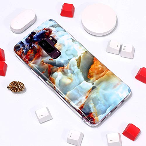 for Samsung Galaxy S9 Plus Marble Case with Screen Protector,Unique Pattern Design Skin Ultra Thin Slim Fit Soft Gel Silicone Case,QFFUN Shockproof Anti-Scratch Protective Back Cover - Fire Cloud by QFFUN (Image #3)