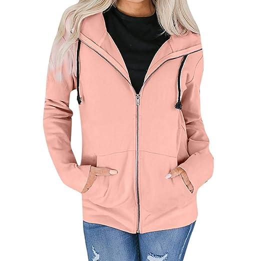 14c1ef9df3 Donna Solid giacca con cappuccio con cerniera, Mamum Fashion ...