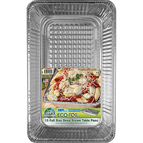 - Eco-Foil Handi-Pack Full Size Aluminum Foil Steam Pan Bakeware - 15CT