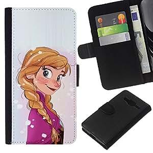 KLONGSHOP // Tirón de la caja Cartera de cuero con ranuras para tarjetas - Caricatura de niños de carácter cola de caballo de los niños - Samsung Galaxy Core Prime //