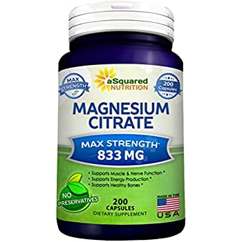 Pure Magnesium Citrate 833mg Supplement - 200 Capsules - Max Strength Mag Citrate Powder Pills to Support Function of Muscles, Heart & Bones - Helps Calm ...