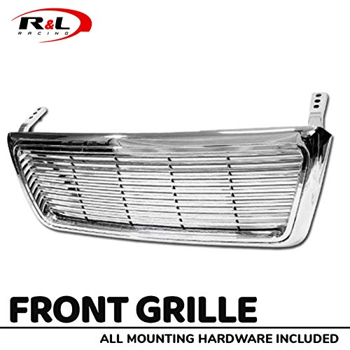 R&L Racing Chrome Front Grill Horizontal Billet Hood Bumper Grille Cover 2004-2008 for Ford F150 Pickup -