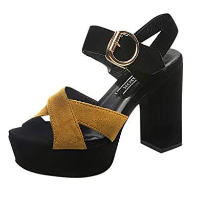 Mujer Elegante Correa en T Tacon Medio Ancho Fiesta Vestido Sandalias Zapatos de tacón Alto para Mujer Cinturón Hebilla Pez Sandalias Sandalias Cinturón ...