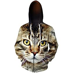 Teens 3D Digital All Over Print Cat Zip Up Hoodie Casual Pullover Hooded Sweashirt Jacket with Pockets xl
