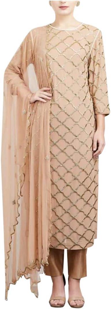 Amazon Com Ethnic Emporium Rose Gold Straight Salwar Kameez Handwork Pants Formal Party Indian Muslim Suit Dress 108 Clothing