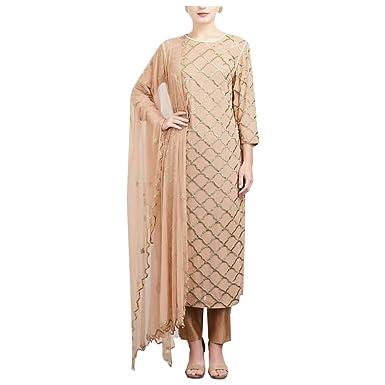 442e1a9e7924 Amazon.com: ETHNIC EMPORIUM Rose Gold Straight Salwar Kameez ...
