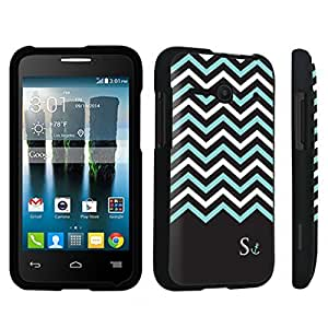 linJUN FENGDuroCase ? Alcatel OneTouch Evolve 2 4037T Hard Case Black - (Black Mint White Chevron S)
