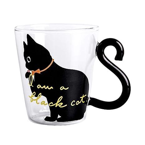 KEYkey 8,5 oz 9 cm Lindo Gato Taza de café con Leche Negro Linda