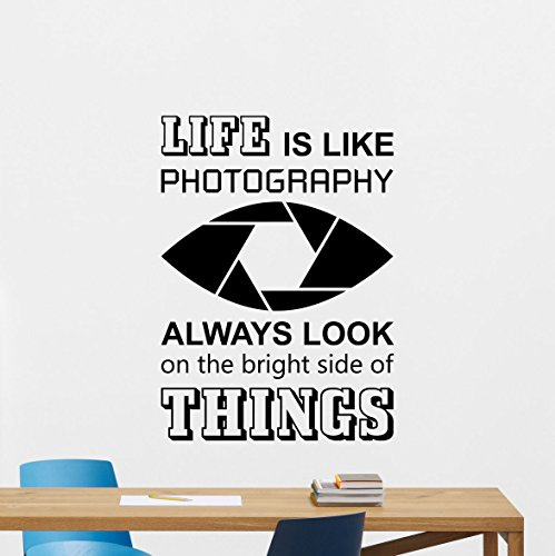 Life is Like Photography Wall Decal Camera Photo Studio Photographer Quote Motivational Sign Gift Lettering Word Cloud Vinyl Sticker Print Wall Art Room Design Kids Decor Poster Custom Mural 126bar