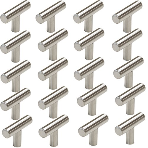 teel Modern Cabinet Handles, Drawer Pulls, Kitchen Cupboard T Bar Knobs and Pull Handles Brushed Nickel - Single Hole - 20Pack (Single Hole Pull)