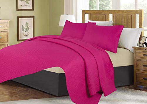 Linens And More 3 Piece Bedspread Set (11 colors) (Hot Pink, King)