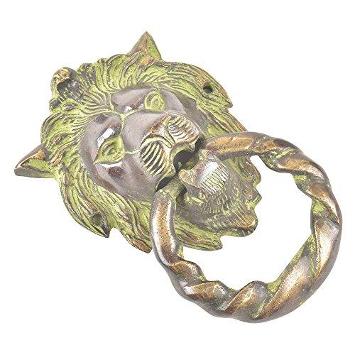 Small Brass Head Knob Lion (IndianShelf Handmade Lion Head Brass Painted Patina Door Knocker-1 Piece(MDK-146))