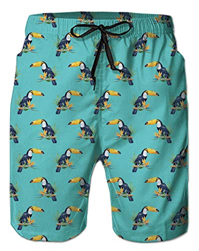 Men Beach Swim Trunks Hawaiian Print Orange Toucan Designer Animal Graphics Mint Green Swimming Retro Compression Board Shorts with Mesh Lining Elastic Waistband Pocket for Young Boys Size 10-12 2XL