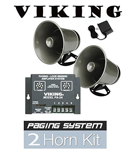 Viking Paging System - Viking Intercom Paging System with Amplifier and 2 Powered Speaker PA