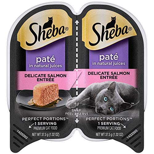 SHEBA PERFECT PORTIONS Wet Cat Food Paté in Natural Juices Signature Delicate Salmon Entrée, (24) 2.6 oz. Twin-Pack Trays (Sheba Cat Food)
