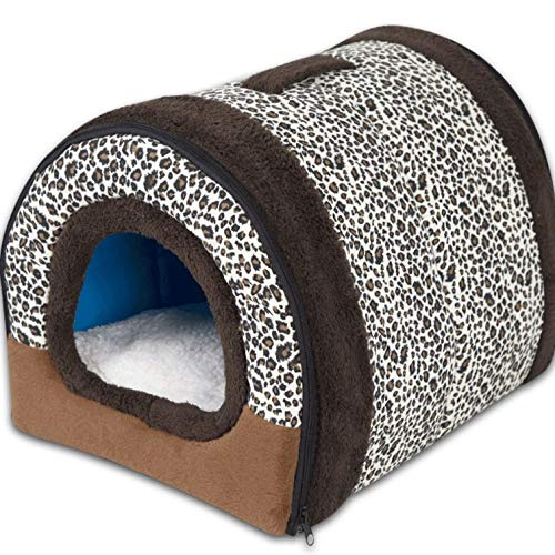 Leopard pattern+mat 55×38×35cm Leopard pattern+mat 55×38×35cm Pet Bed Kennel Semi-Closed Zipper Winter Warm Detachable Cleaning Pet House Living Room Bedroom Balcony Universal Cat House A+ (color   Leopard Pattern+mat, Size   55×38×35cm)