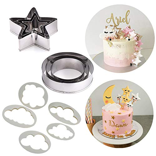 SAKOLLA Twinkle Twinkle Little Star Cake Decoration - Stars/Cloud/Circle Moon Cookie Cutters Kit for Baby Shower Birthday Wedding Party - DIY Cupcake Decoration, Set of 11 (Sun Cookie Star Cutter Moon)