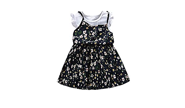 Baby Casual Dress,Hstore Cute Floral Skirt Kids Baby Girl Floral Ruffle Beach Casual Dress Clothes Navy