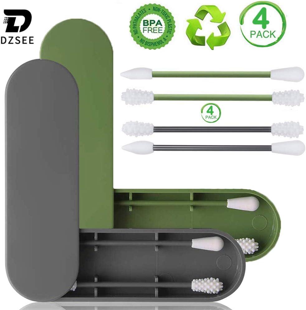 Nettoyage Des Oreilles Dzsee R/éutilisable Coton-Tige 4PCS Lavable S/écurit/é Silicone Tampons En Coton Cosm/étique Coton Bourgeons Noir et vert B/âtons Silicone Double-T/ête Recyclant Coton
