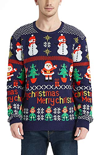 Daisyboutique Men's Christmas Rudolph Reindeer Holiday Sweater Cardigan Cute Ugly Pullover (Medium, Santa-Tree-Snowman)