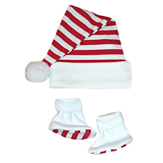 bb69cf1109a Amazon.com  Jacqui s Unisex Baby Santa Hat   Booties with Red ...