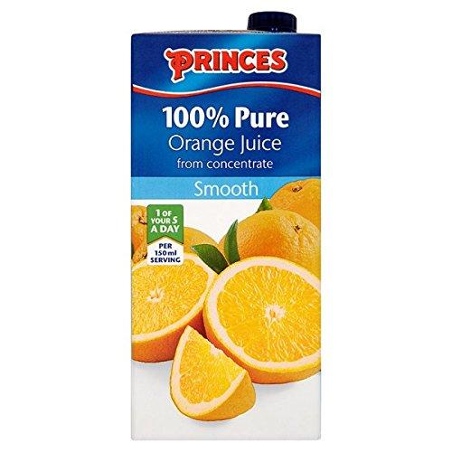Princes 100% Zumo de naranja puro del concentrado Smooth 1 Litro (Pack de 8