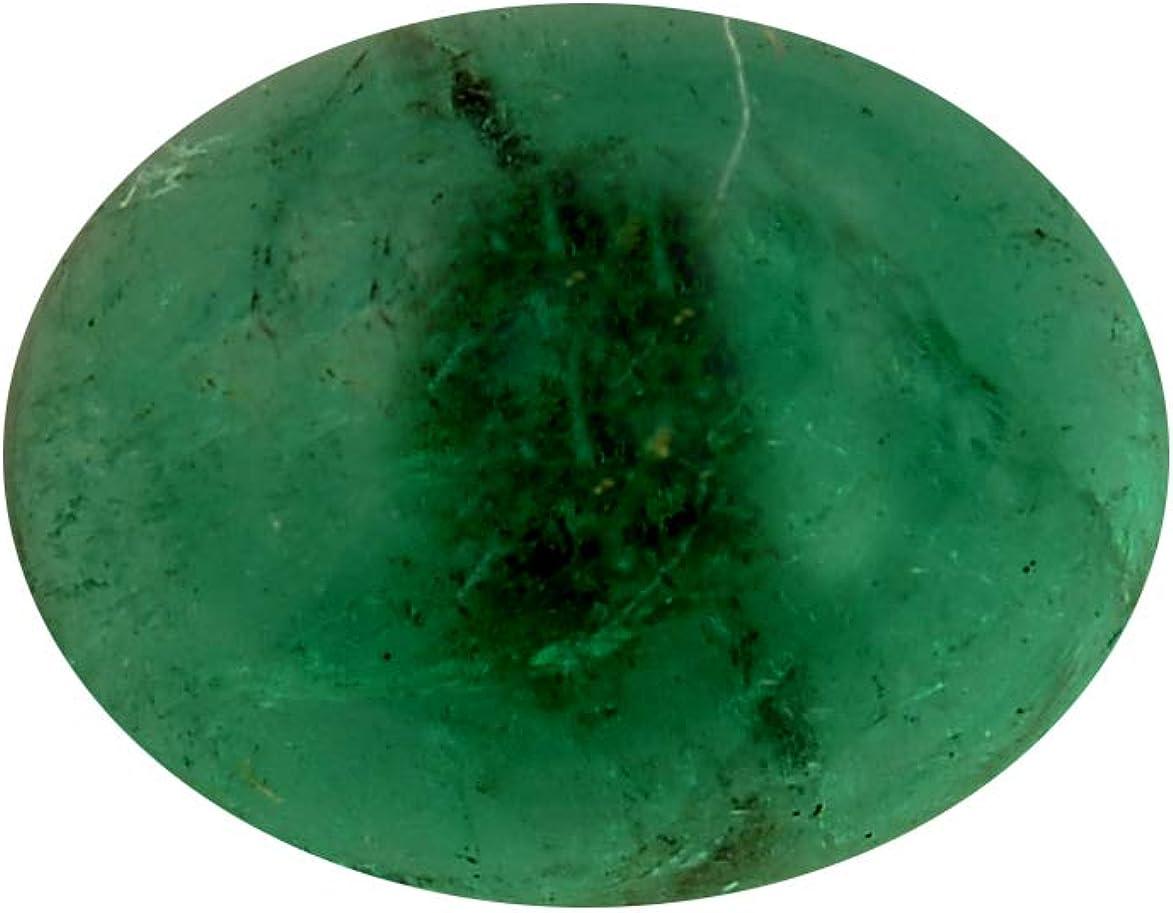 Jaipur Gems Mart 1,7 Quilates de Forma Oval de Zambia Natural Verde Esmeralda Cabochan Pieza para Hacer la joyería, Pendiente de la Esmeralda, la curación de Piedras Preciosas