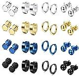 FIBO STEEL 16 Pairs Stainless Steel Stud Earrings Hoop Earrings Set for Men Women Huggie Hoop Piercing Earring