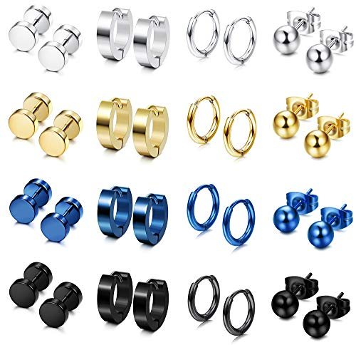 FIBO STEEL 12 Pairs Stainless Steel Stud Earrings Hoop Earrings Set for Men Women Huggie Hoop Piercing Earring