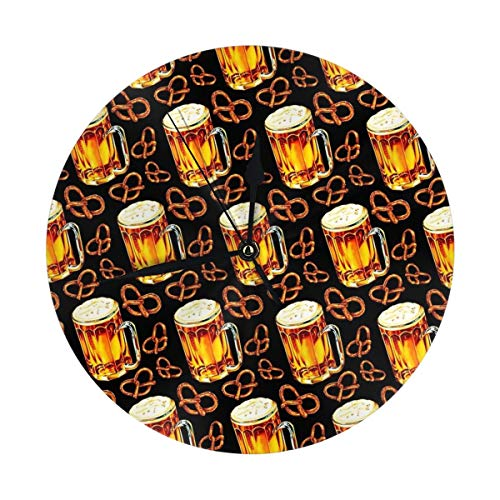 LALACO-Design Beer Lamp Pretzel Pattern Black Round Wall Clock for Home,Office,School Decorative 9.8 Inch Battery -