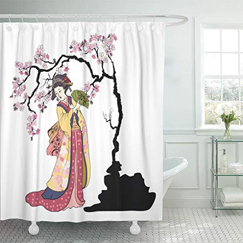 Emvency Shower Curtain Geisha Women Hold Fan Japanese in Kimono with Cherry Blossom Traditional Tattoo Colorful and Doodle Shower Curtains Sets with Hooks 72 x 78 Inches Waterproof Polyester Fabric