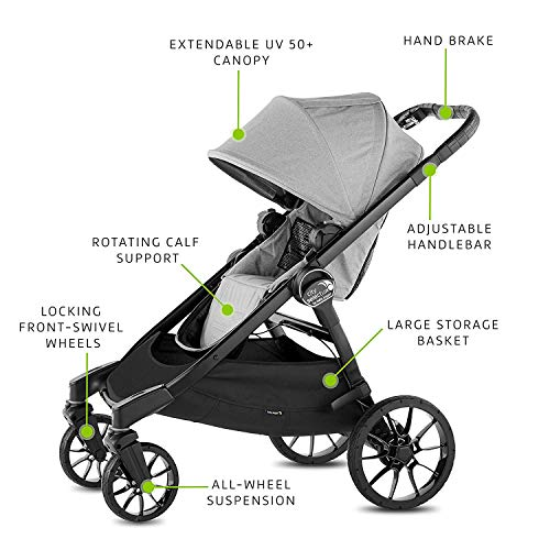 511BcH8rT5L - Baby Jogger City Select LUX Stroller | Baby Stroller With 20 Ways To Ride, Goes From Single To Double Stroller | Quick Fold Stroller, Slate