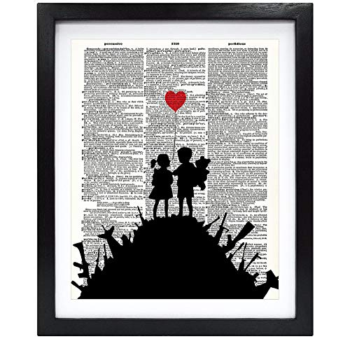 Susie Arts 8X10 Unframed Banksy Kids On A Hill Upcycled Vintage Dictionary Art Print Eco Friendly Book Art Print Home Decor Wall Art V156