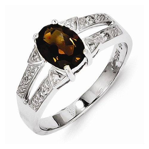 925 Sterling Silver Brown Simulated Smokey Quartz & Diamond Engagement Ring (.03 cttw.) (2mm)